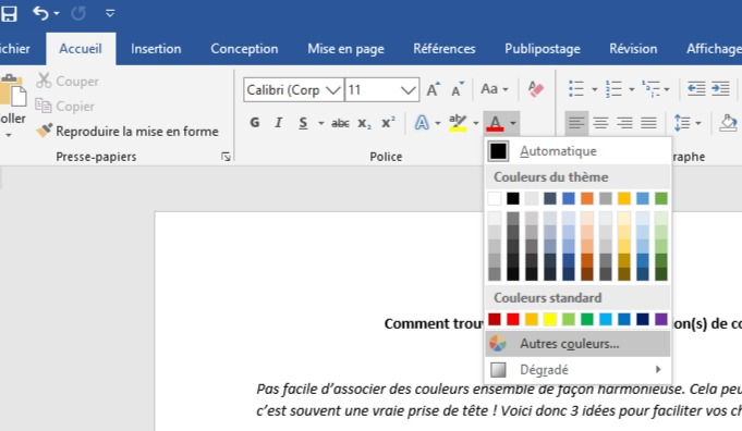 Personnalisation des couleurs sous Word