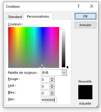 Codes couleurs sous Word