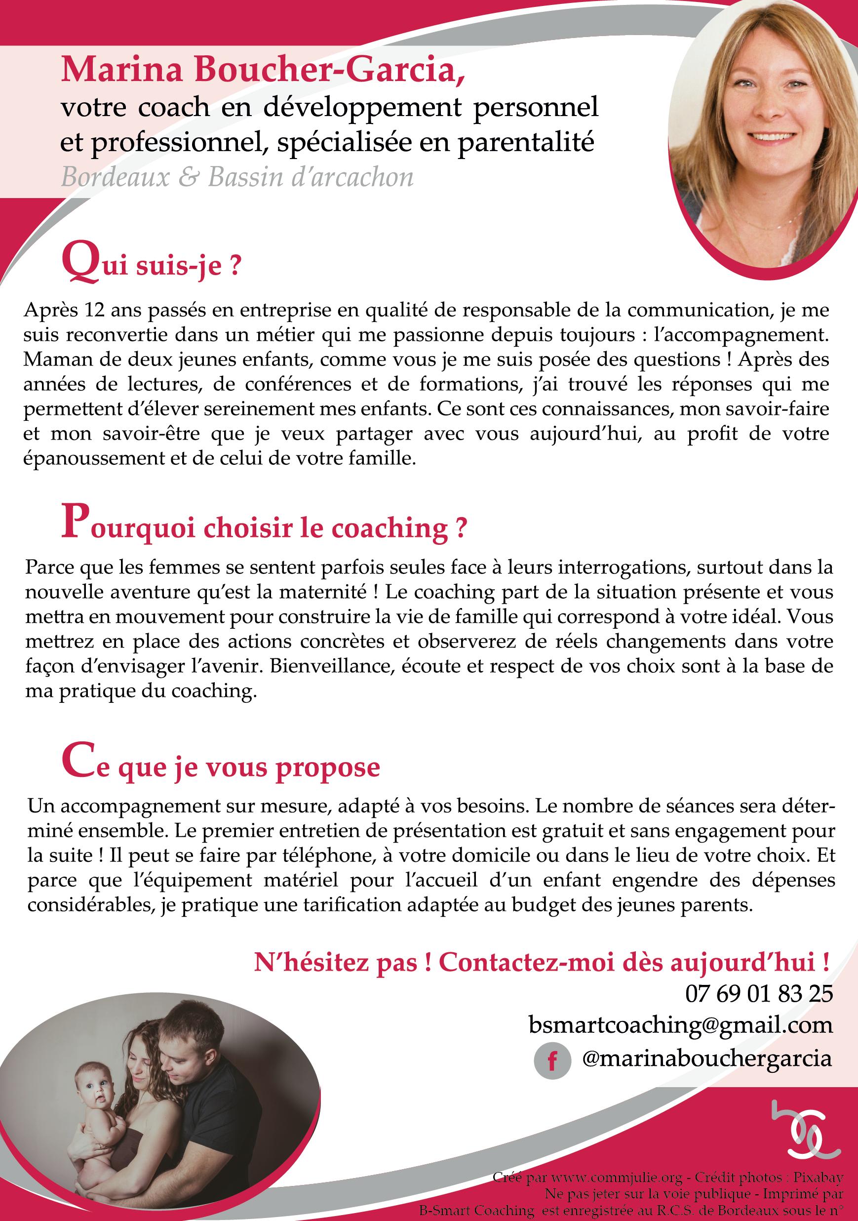 Exemple de flyer créé par Julie Laluque, chargée de communication indépendante à Bordeaux